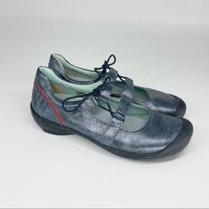 WOLKY Metallic Silver Blue Flat Shoes Laces EU 42